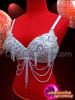 CHARISMATICO Classically Embellished White Beaded And Sequined Belly Bra With Tassels