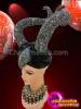 CHARISMATICO Black Satin Turbaned Shimmering Crystal Encrusted Maleficent Up-Swept Horn Headdress