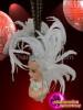 CHARISMATICO Cute Asymmetrical White Pleasant Pheasant Feather Diva Showgirl Cabaret Headdress