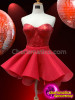 CHARISMATICO Classic Metallic Red Corset With Coordinated Red Asymmetrical Hem Skirt