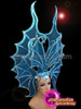 CHARISMATICO Butterfly Style Sequined Blue Custom Made Headdress With Contrasting Details