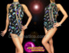 CHARISMATICO Black Front Slit Leotard with Diamond Sequins and Detachable Collar