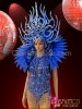 CHARISMATICO Dancer Blue Tassels Costume With Intricate Headdress And Feather High Collar