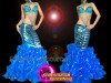 CHARISMATICO Blue Water Performance Mermaid Costume with Beaded Bra and Ruffled Skirt