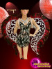CHARISMATICO Black Silver Sequined Halter Dress Costume Set with Feathery Headdress, Wings, and Footwear