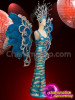 CHARISMATICO Blue Ostrich Feathered Drag Queen Costume Set With Silver Sequins And Silver Metallic Designs