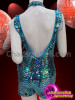 CHARISMATICO Basic Shimmering Blue Sequined Boy-Short Styled Dancer'S Catsuit With Beaded Cuffs And Collar