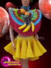 CHARISMATICO Diva fruit costume set with yellow skirt, fruit headdress and Top with silver sequins