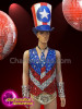 CHARISMATICO Diva Independence Day Silver, Blue And Red Sequinned Costume Set