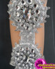 CHARISMATICO Crystallized and sequinned diva silver samba dance leg guard