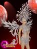 CHARISMATICO Beaded Diva Silver Sequinned Winged Crystallized Costume Set