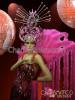 Exotic fuchsia Cabaret Drag queen Dress + feather  boa collar+ headdress set