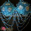 Blue And Silver Bead Brazillian Carnival Ornate Seduction Bikini Bra + Thong  Lingerie