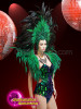 CHARISMATICO Black and green sequin costume set with feather headdress and wings