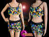 CHARISMATICO A Raging Show Needs This Multi-Color Bra Top And Shorts