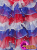 CHARISMATICO  Independence Red, Blue and white multi-layered ruffled skirt and sleeves