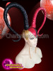 CHARISMATICO  Dual Colored Black And Red Curved Horn Drag Queen Headdress