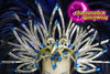 CHARISMATICO  A Stunning Feather And Crystal Headdress In Blue And Silver