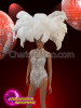 CHARISMATICO Sequin White Costume For Cabaret Dancer With Huge Ostrich Headdress