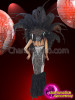 CHARISMATICO Black And Silver Sequin Mermaid Diva Costume With Feather Headdress