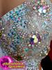 Floral Crystallized White Dance Latin Salsa  Samba Fringe Catsuit Pants