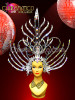 CHARISMATICO Black Mirror And Crystal Studded Sword Styled Drag Queen Warrior'S Headdress