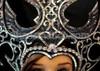 CHARISMATICO Black Glitter with Mirror Edging and Iridescent Crystals Batman Gothic Headdress