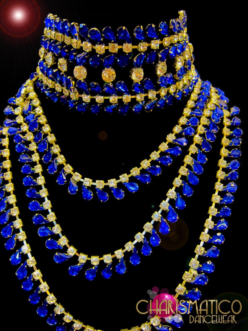 Modern Trio Showgirl/'s Cabaret Collar Style Rhinestone Crystal Draped Necklace