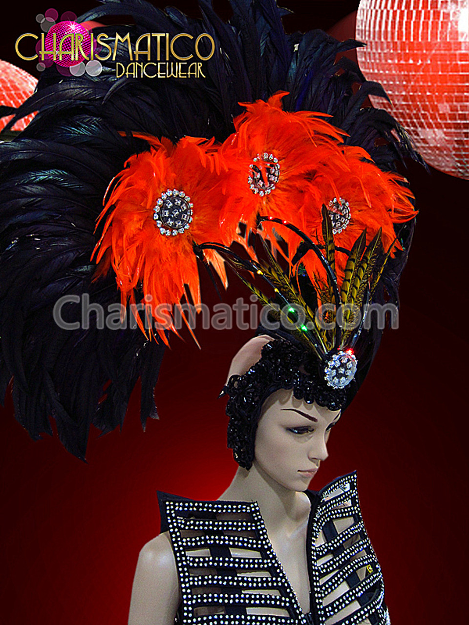 Classic Golden Orange Accented Egyptian Nobility Diva Drag Queen Headdress