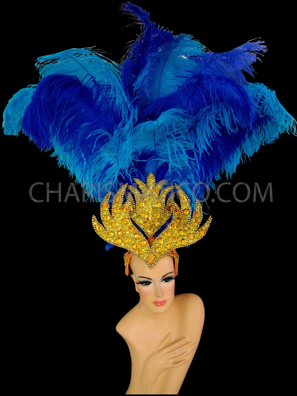 Custom Made Royal Blue Ostrich Feather Fascinator Headdress Hair Clip with Sequins /& Beaded Fringe