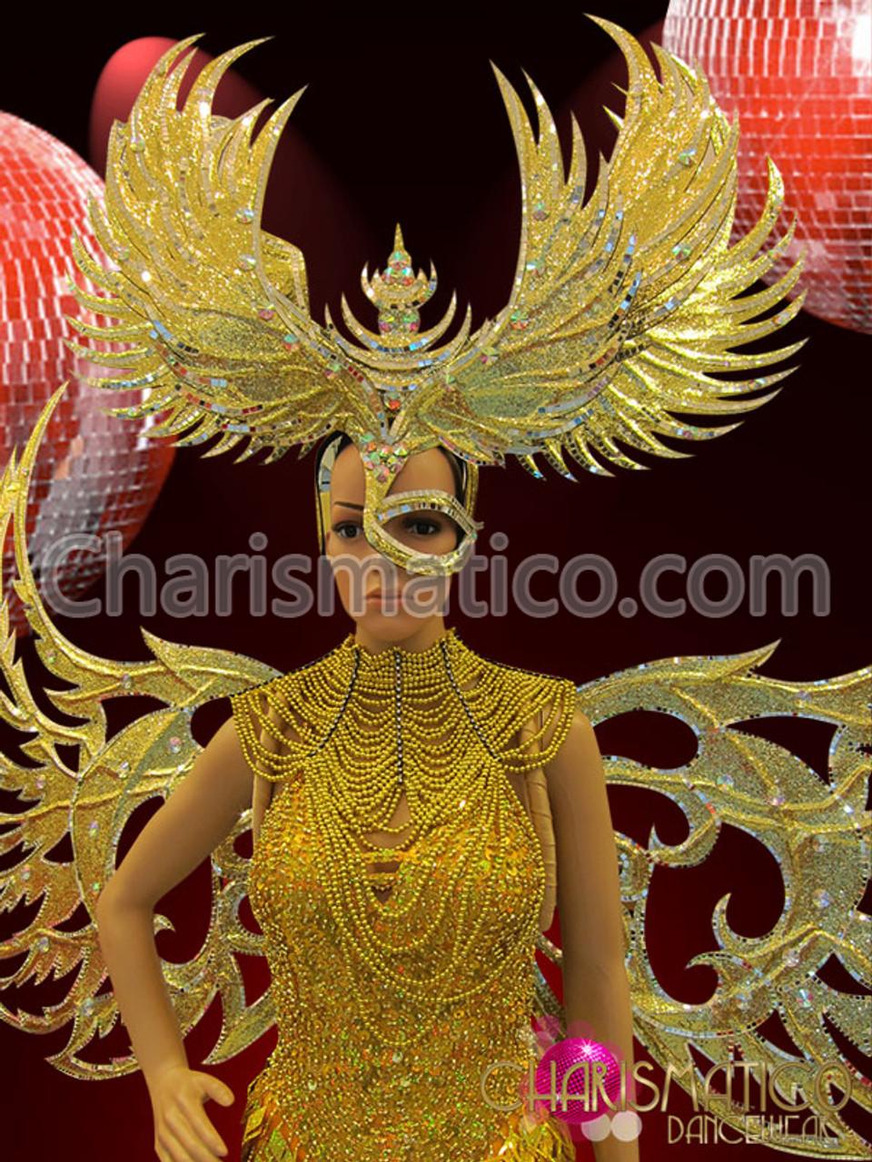 CHARISMATICO Half Mask Styled Shiny Golden Diva/'s Fancy Spiked Mohawk Headdress