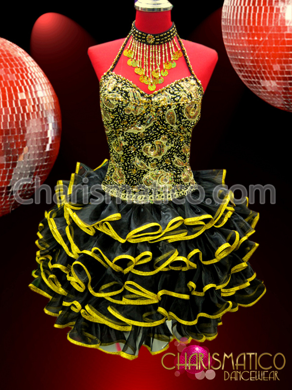 CHARISMATICO Corset style gold accented lace embellished bright pink dolly dress