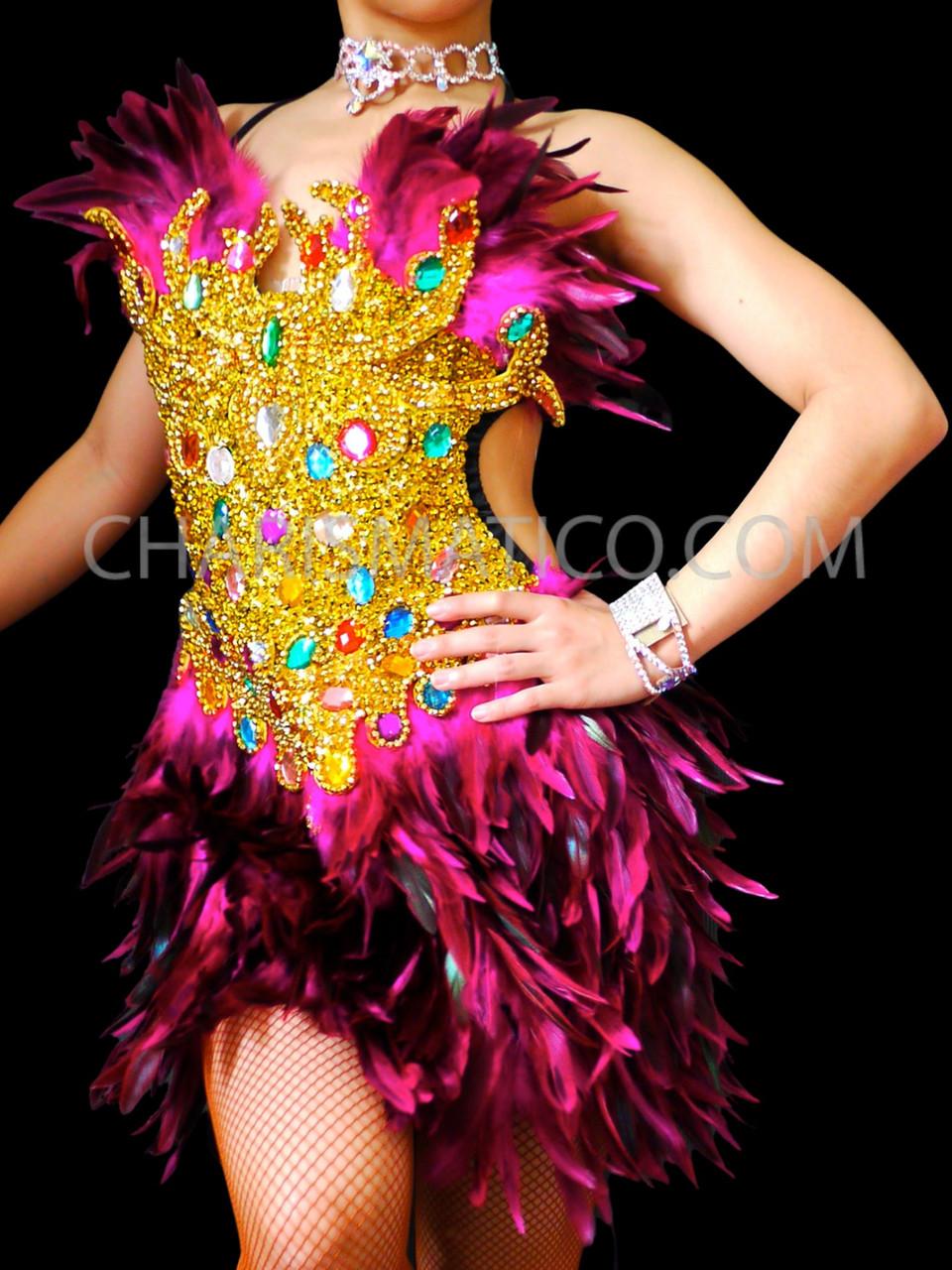 PINK Feather LATIN BURLESQUE DIVA dance BRA BELT dress