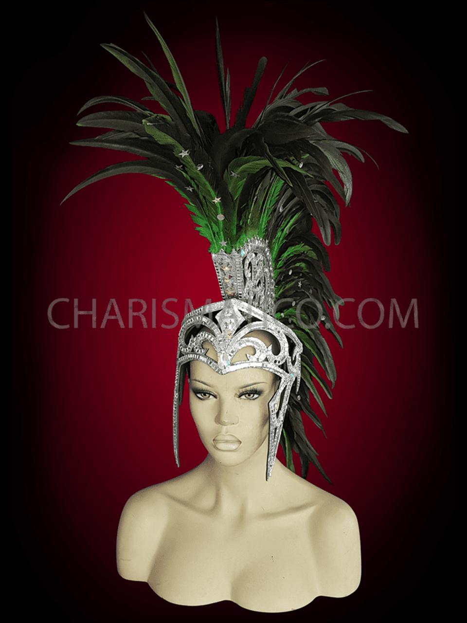 Men/'s Roman Helmet styled mirror covered black feathered Mohawk Headdress