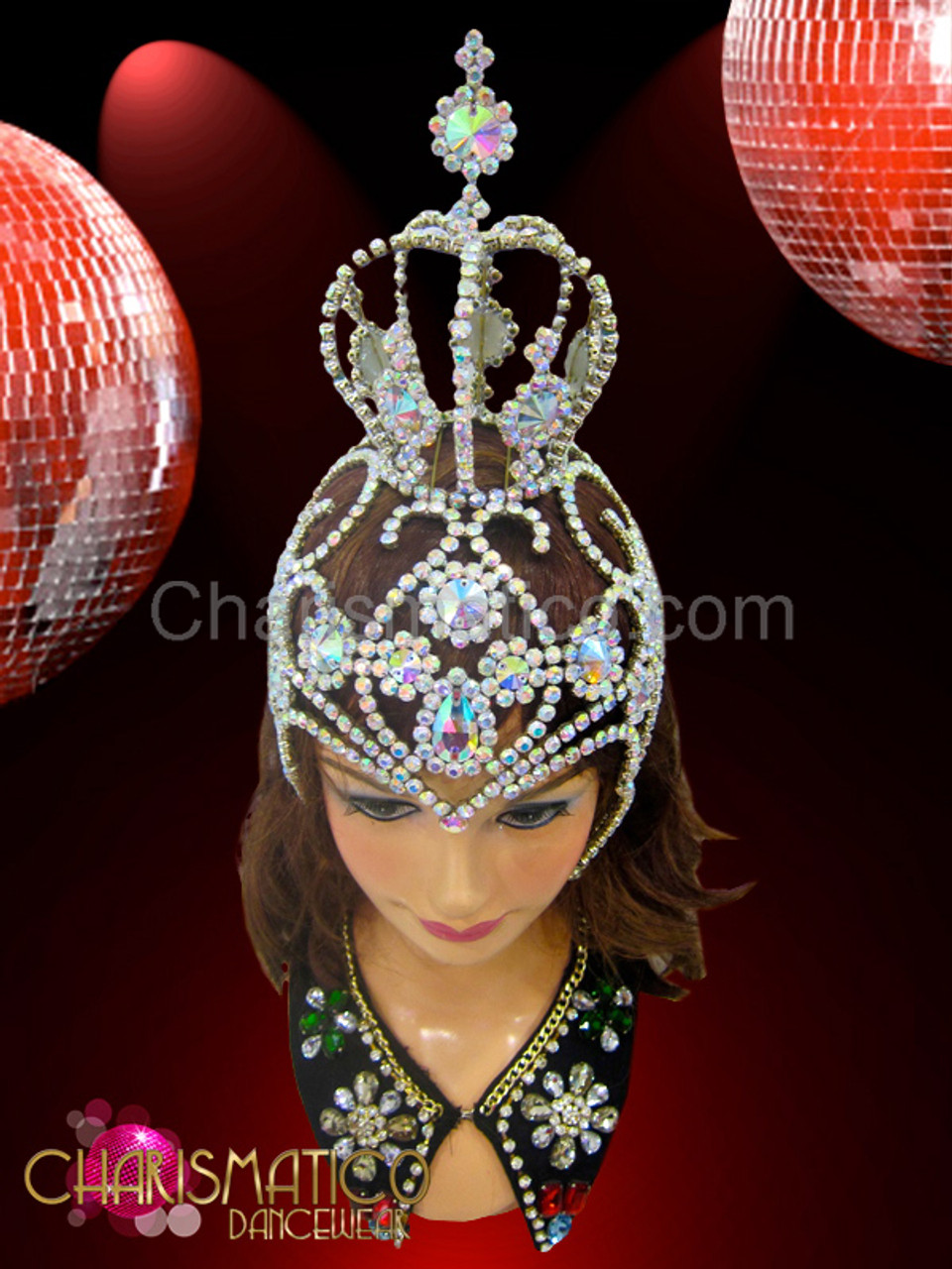 Rhinestone and Iridescent Crystal accented Red Diva Showgirl/'s Ostrich Headdress