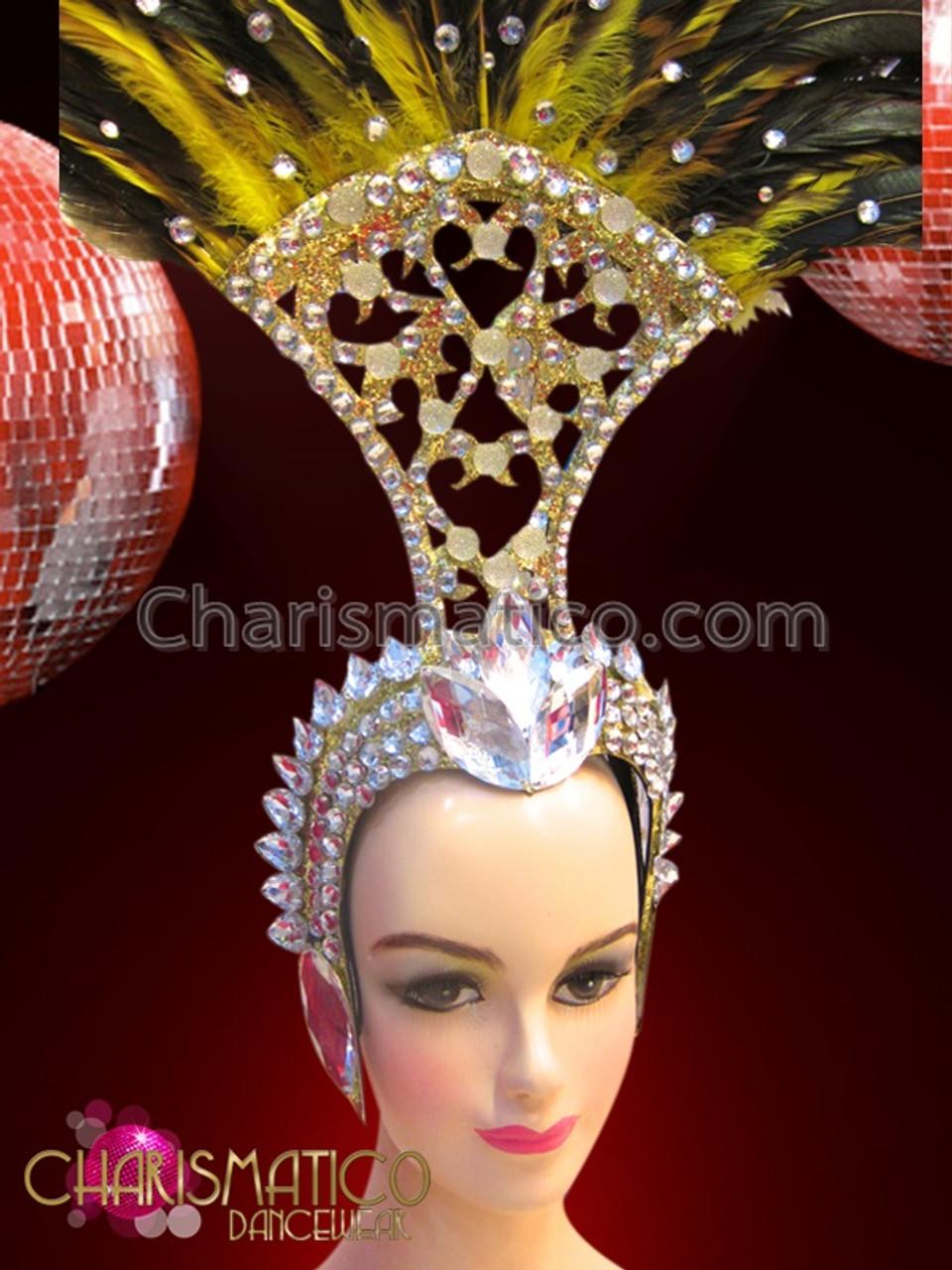 CHARISMATICO Golden Light Blue Egyptian Pharaoh style Diva Drag Queen Headdress