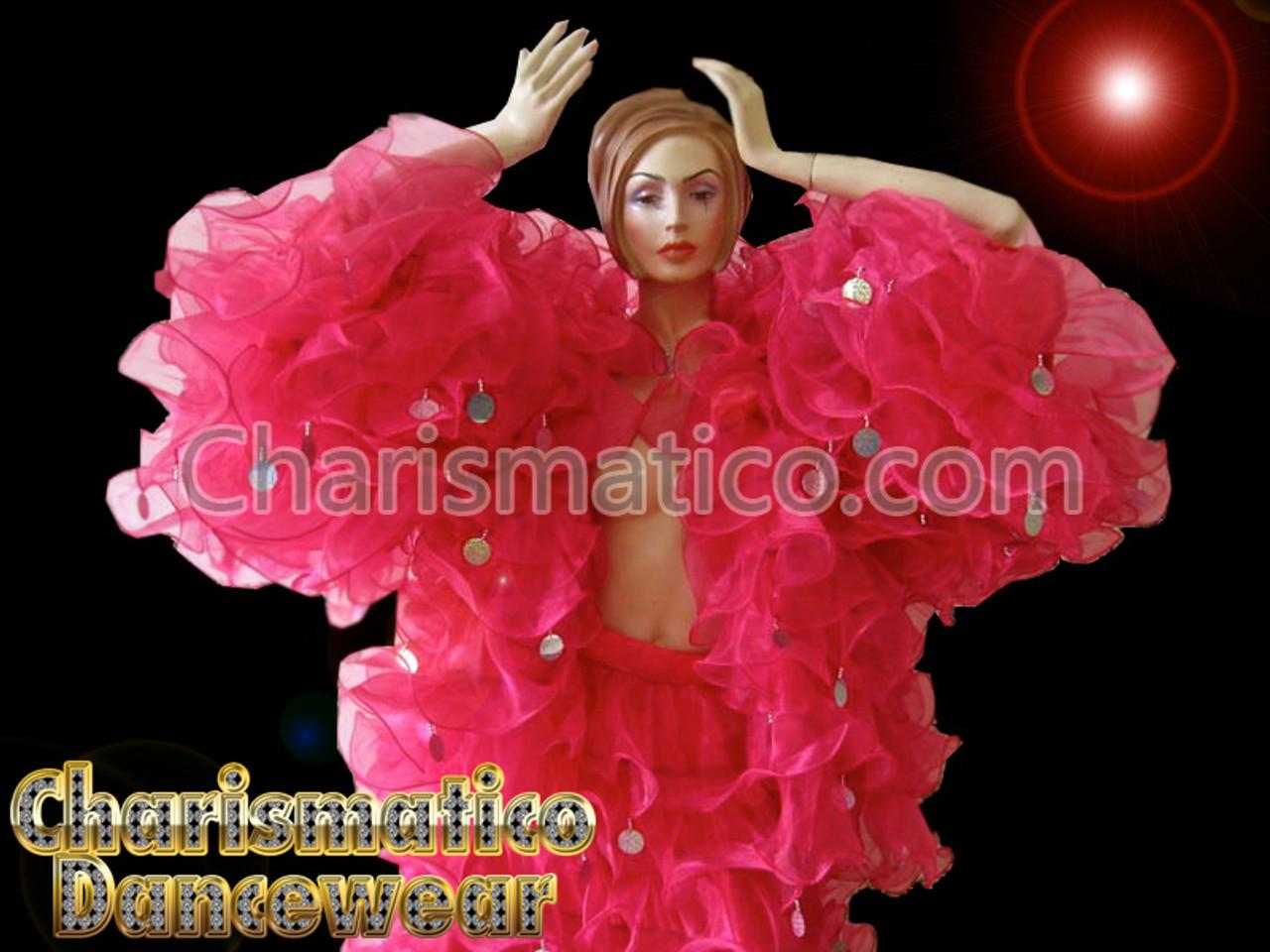 WHITE SISSY Organza cabaret Drag queen Ruffle Coat