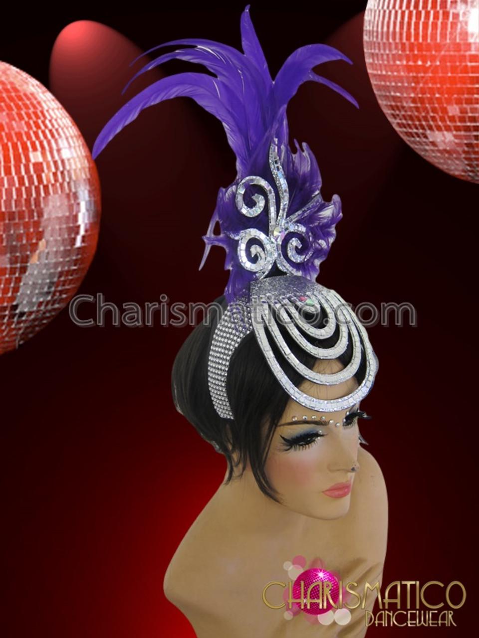 Diva/'s Mirror Tile Accented Silver Glitter White Feather Cabaret Headdress