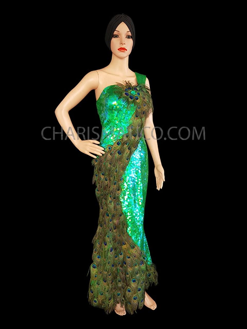 GREEN PEACOCK LATIN SALSA Sequin CHRISTMAS DANCE DRESS