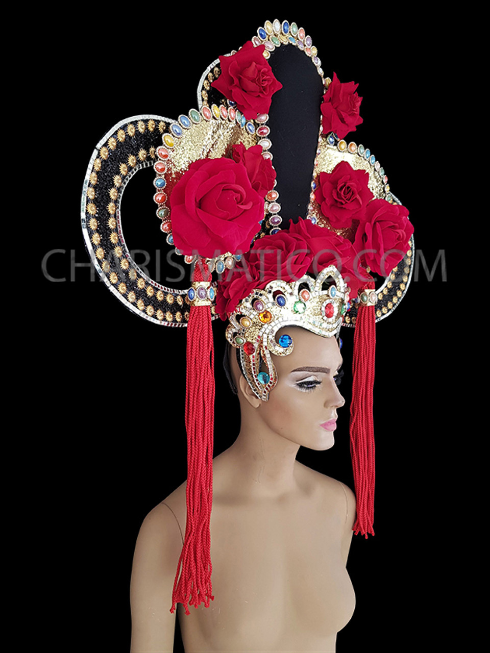 Highly Detailed Braided and Bejeweled Diva/'s Chinese Style Showgirl Headdress