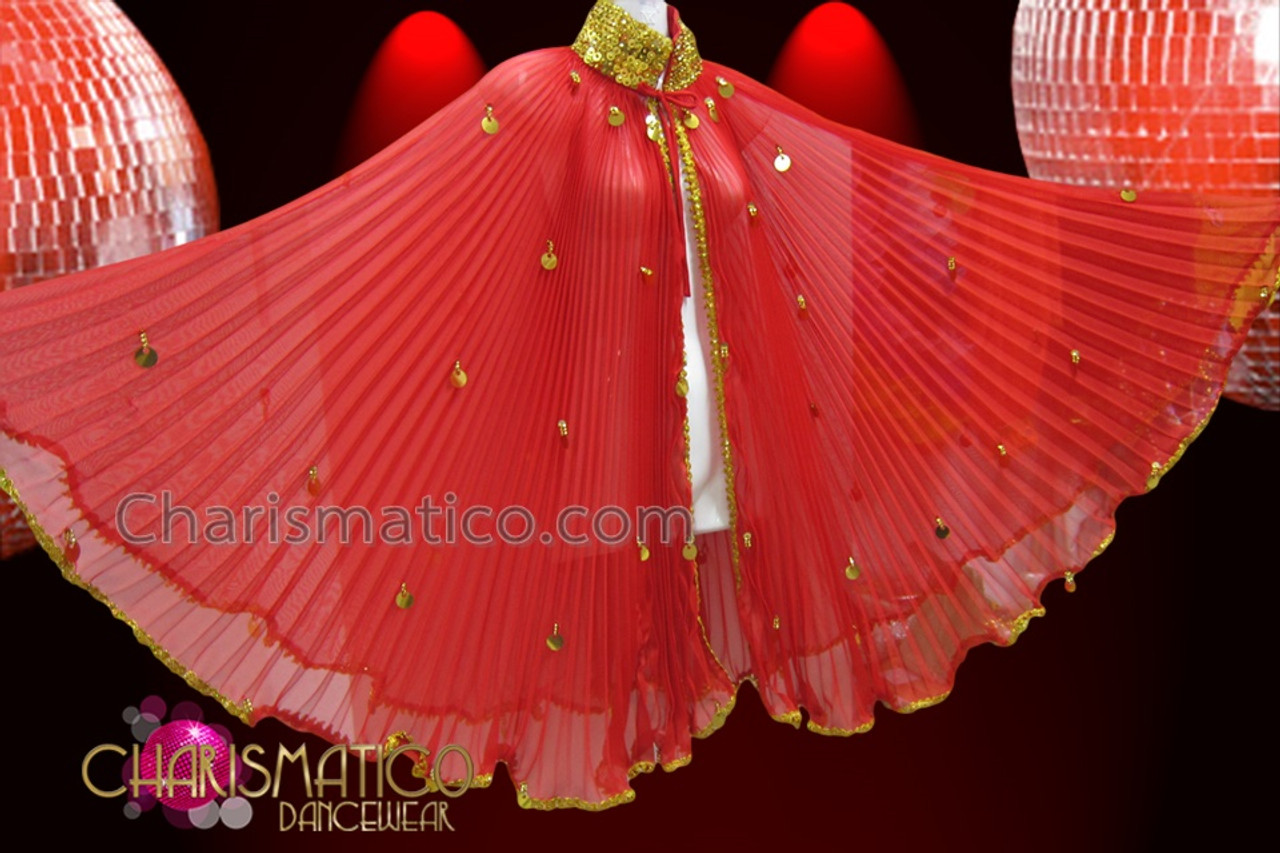 CHARISMATICO Gold Sequin Accented Diva/'s Red Pleated Wing Cape Styled Cover-Up