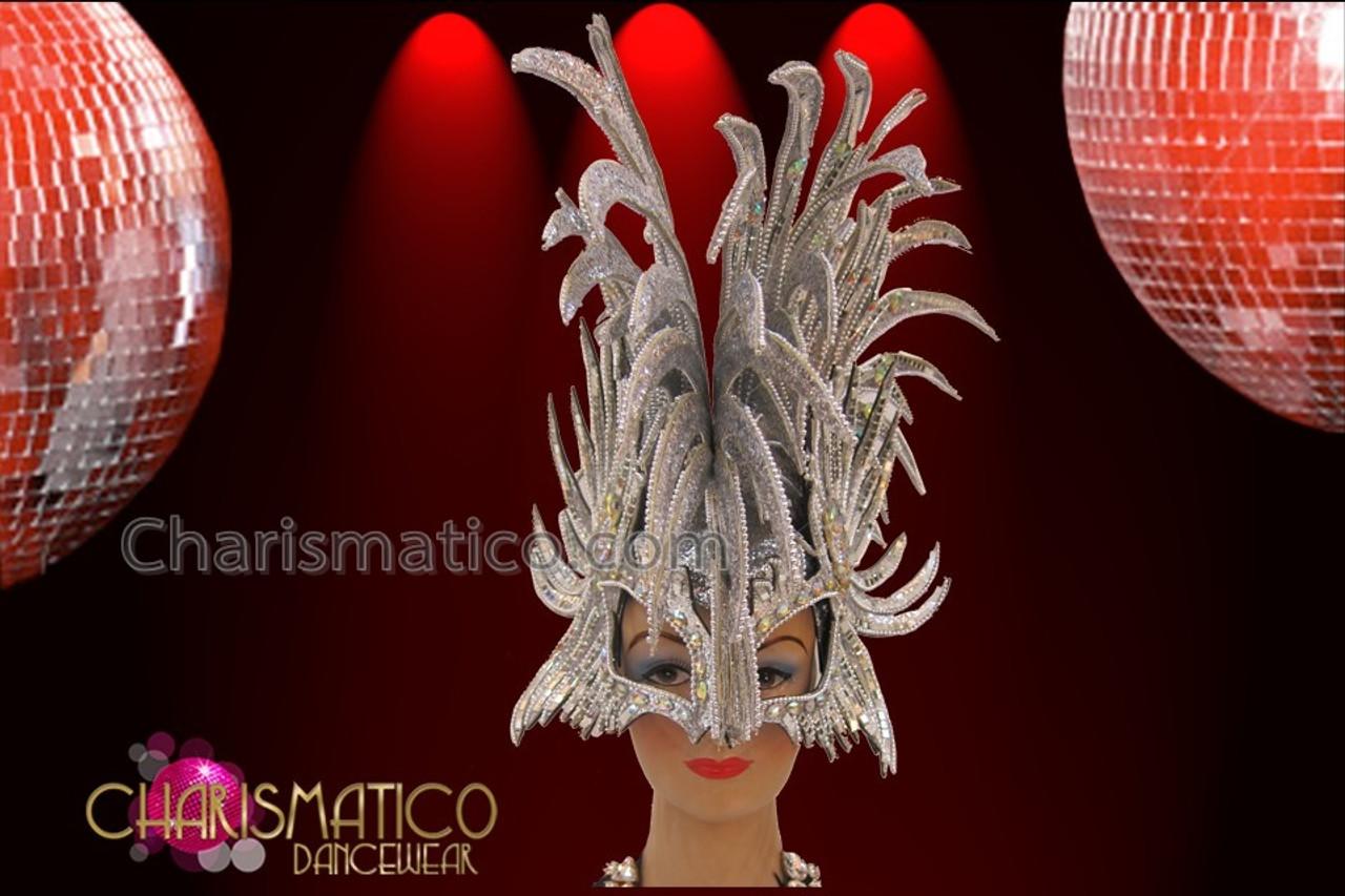 Diva/'s Roman Helmet styled Silver glitter mirror covered Mohawk Headdress