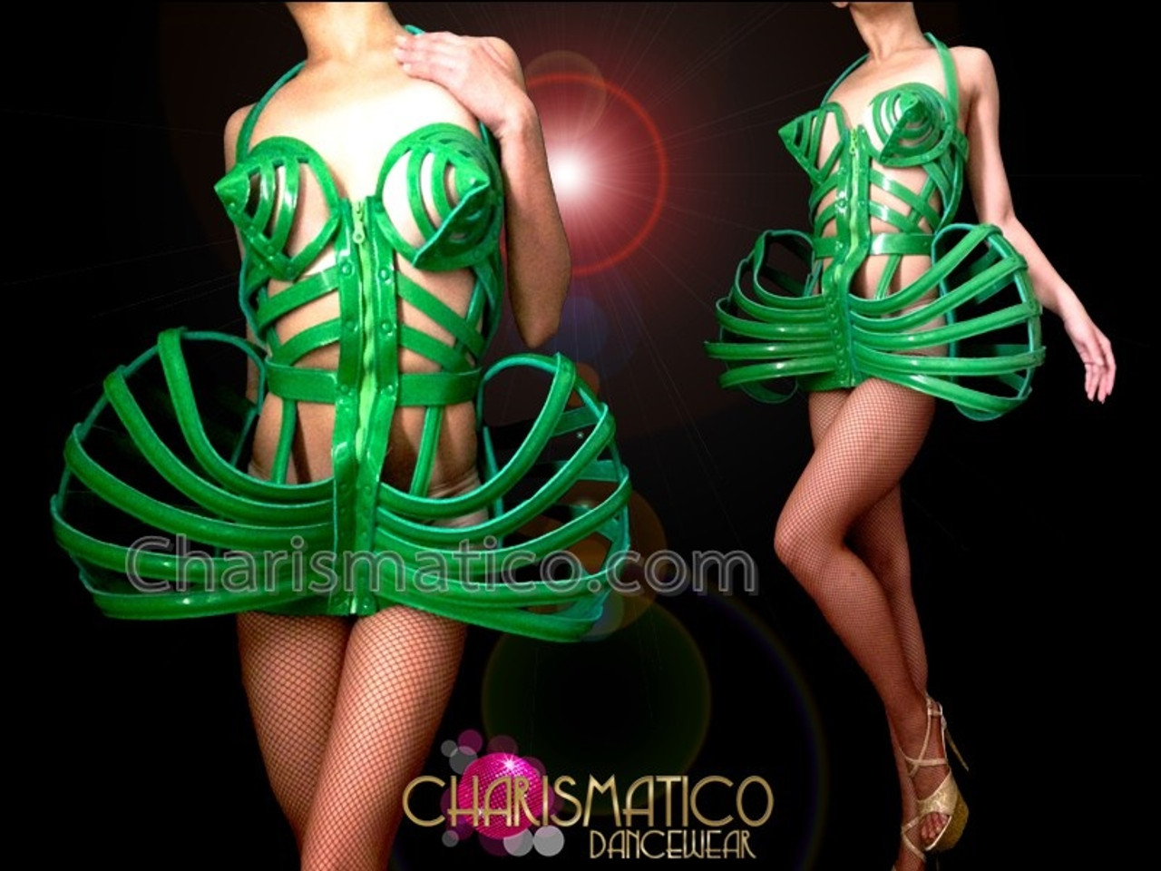 5f025fd56b891 CHARISMATICO Sexy Green Shiny Vinyl Madonna Inspired Corseted Cage Dress  Costume