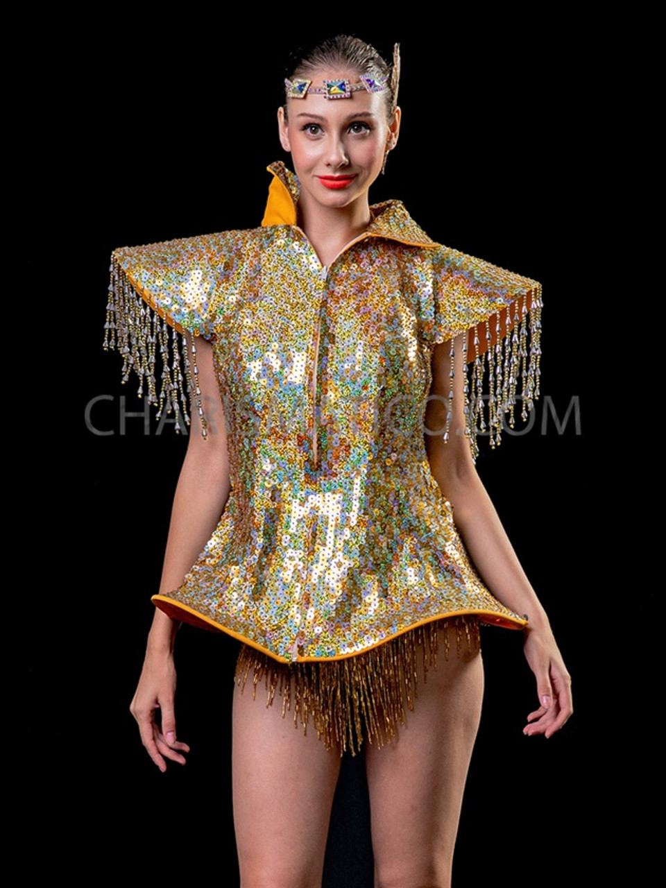 Gold Lady Gaga Sequin Drag Queen Diva Jacket
