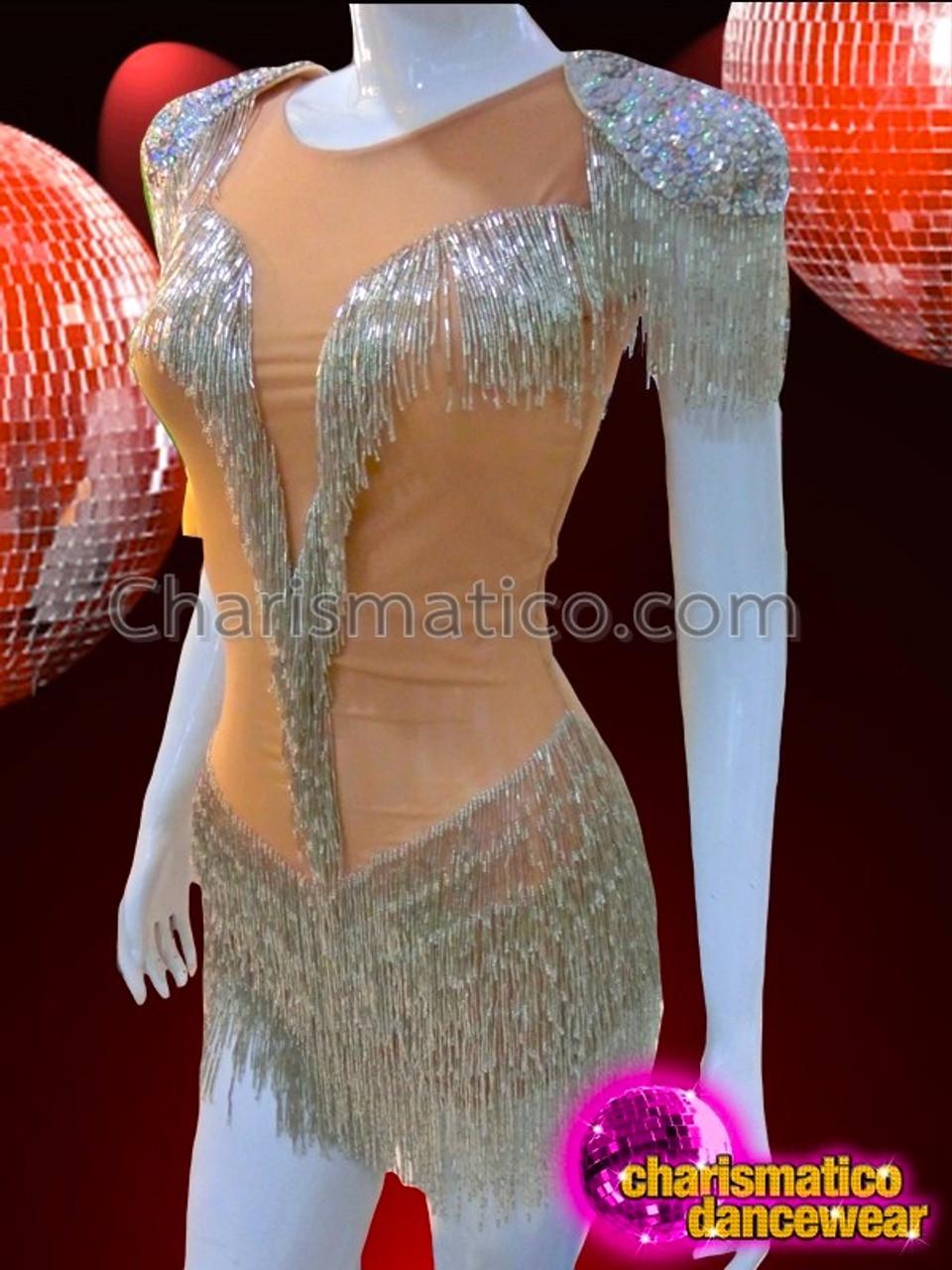 SILVER DRAG QUEEN SEQUIN LATIN LEOTARD DIVA DANCE Dress