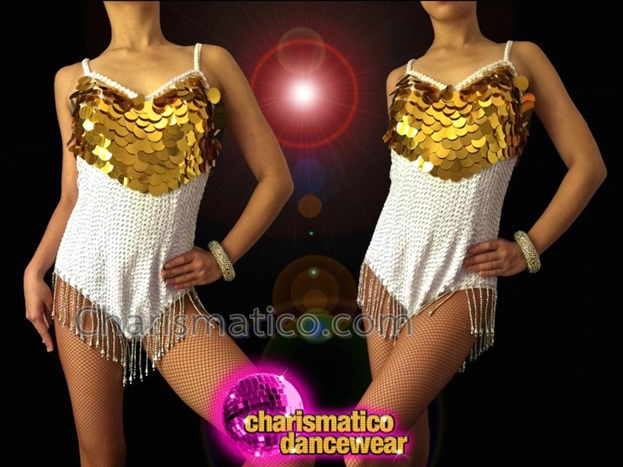 Classic Showgirl/'s Green Jumbo glitter sequin fringe Latin Dance Leotard