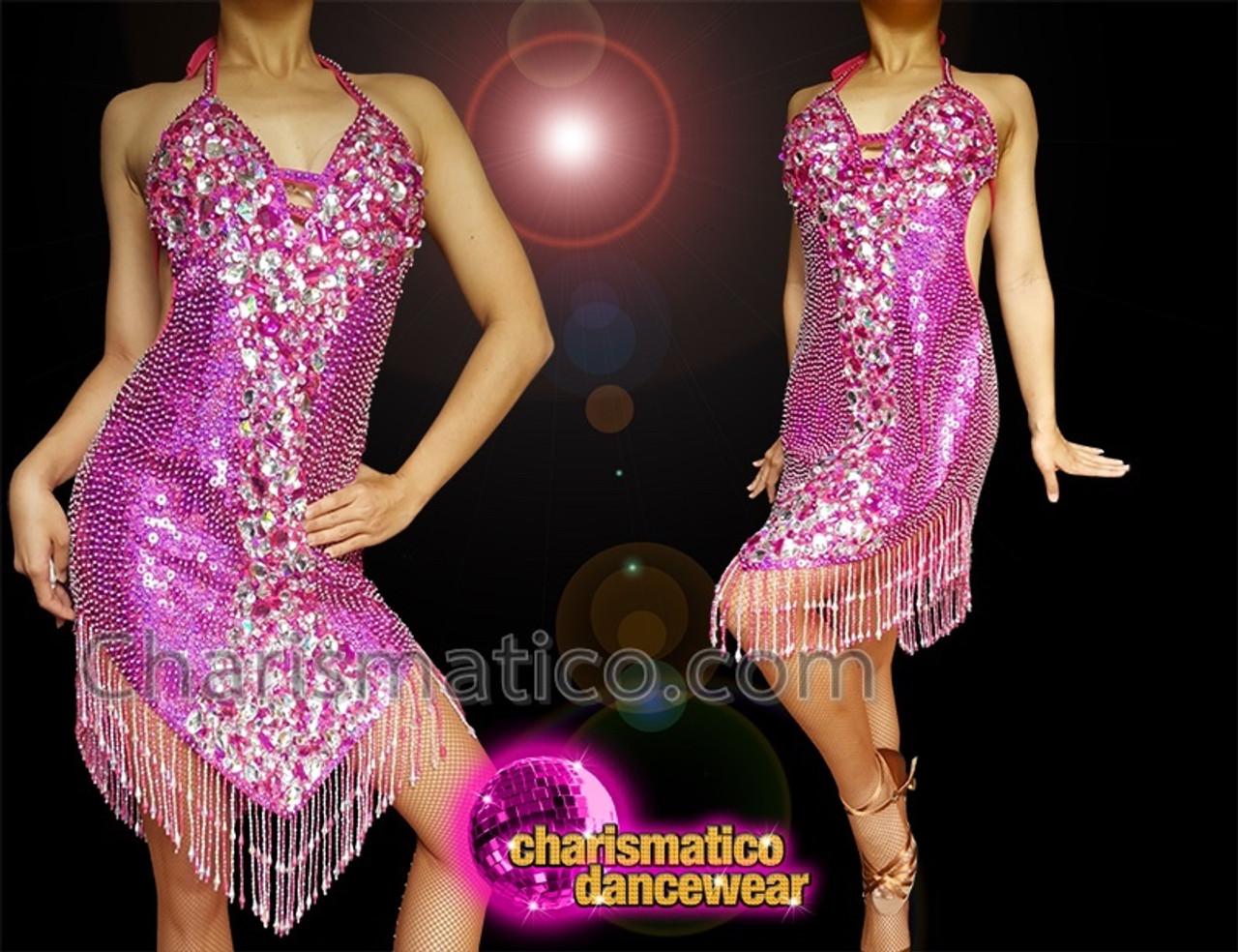 Charismatico FUSHCIA SPARKLE FRINGE LATIN SALSA DANCE Dress DANCEWEAR