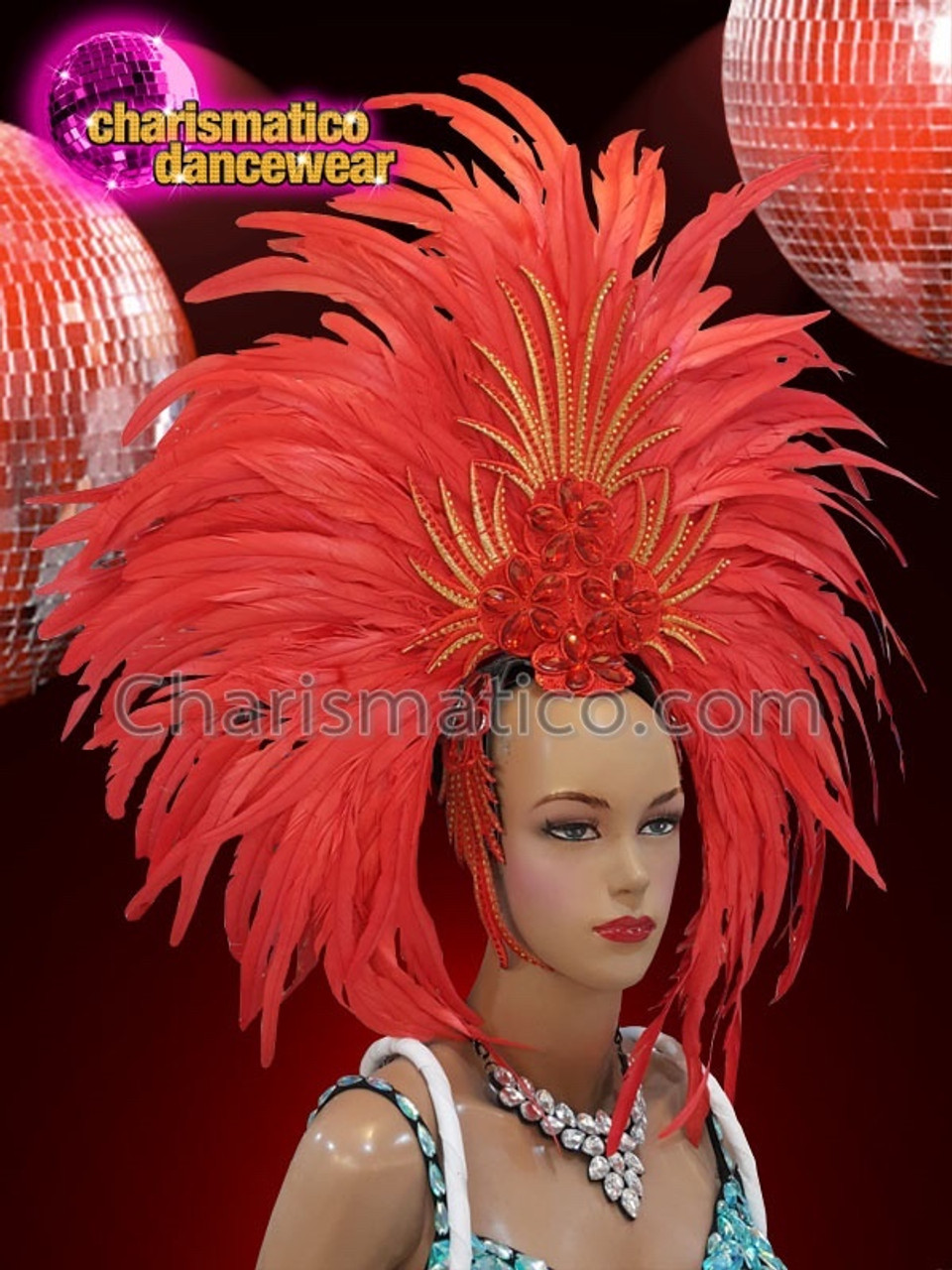 BLACK Drag SAMBA ELEGANT Feather Headdress BACKPACK