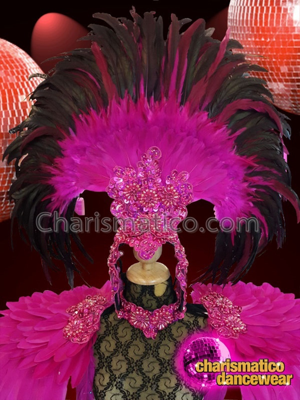 CHARISMATICO Fuchsia feathered and ruffled headdress with silver beads