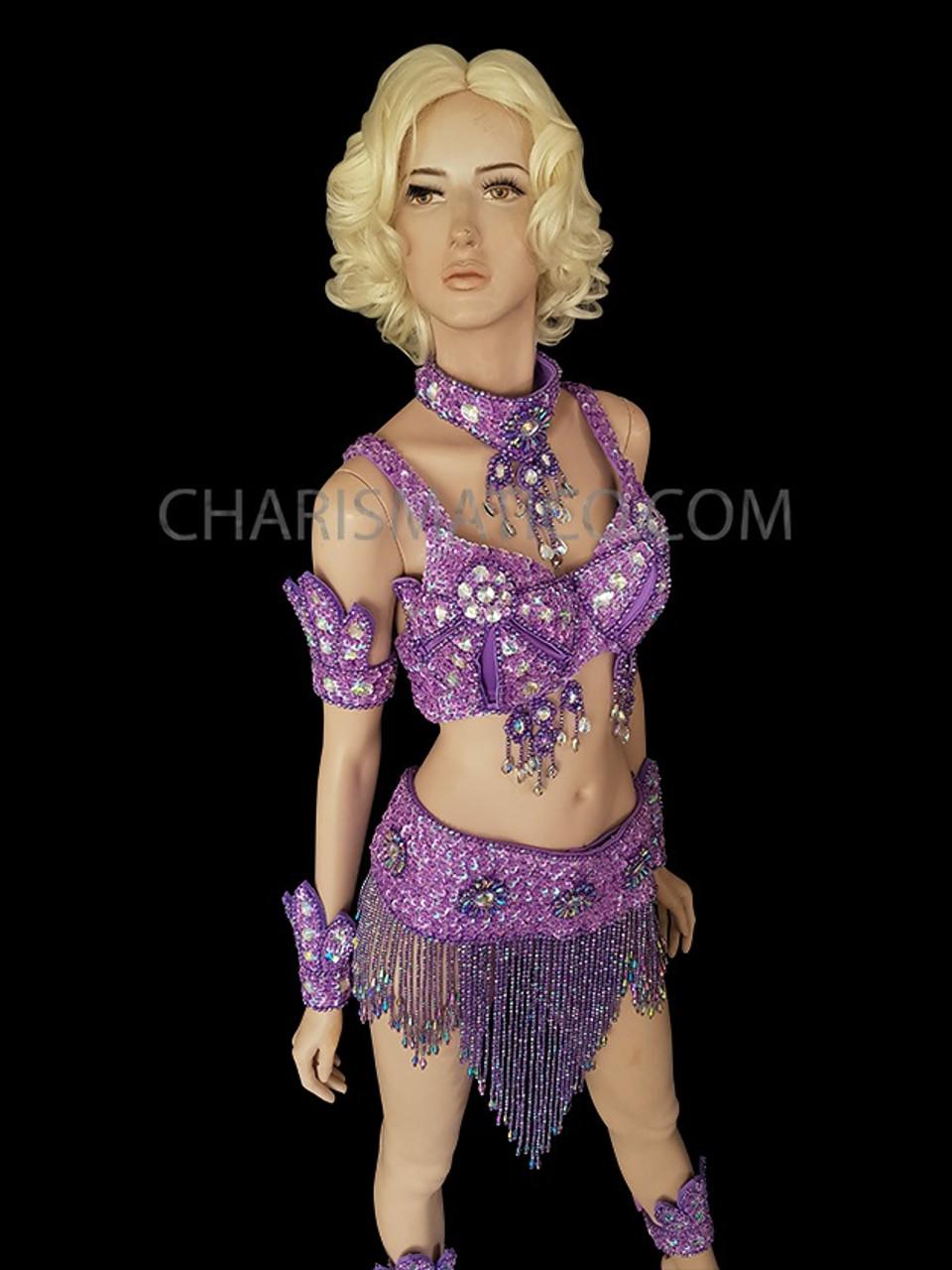 CHARISMATICO PURPLE SAMBA DANCE FEATHER BRA ORGANZA RUFFLE SKIRT MAMBO Dress